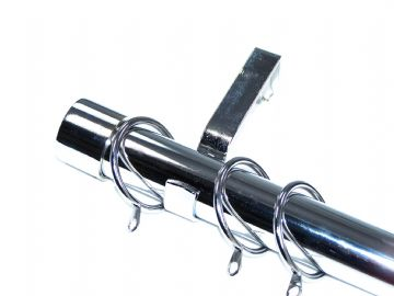 28mm Polished Chrome Curtain Pole with End Cap Finials 3.6m 4.5m 4.8m 6m